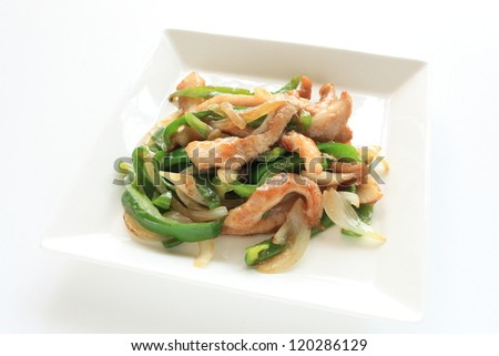 chinese cuisine, pork and pepper stir fried on white square dish