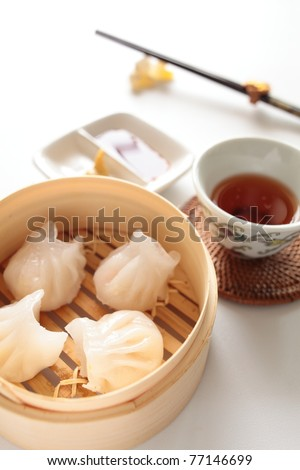 Chinese cuisine, steamed shrimp gyoza - stock photo
