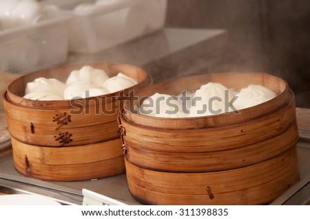 Chinese cuisine-Steamed stuffed bun - stock photo