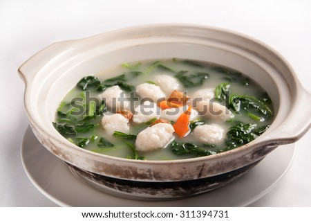 Chinese cuisine-The soup fish ball with Vegetables
