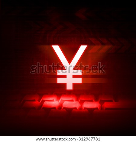 Chinese currency button on red technology background with Downtrend stock concept - stock photo