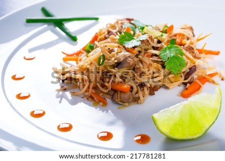 Chinese dish - chow mein noodles with duck and vegetables - stock photo