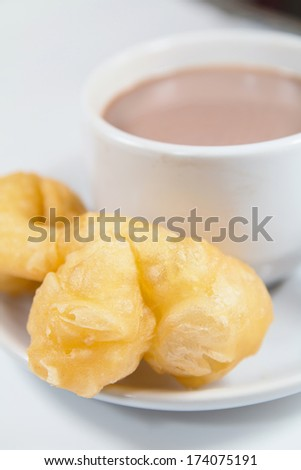 Chinese Dough Stick accompany with cocoa - stock photo