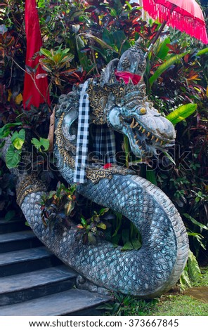 Chinese Dragon at the entrance to a temple in Bali, Indonesia - stock photo