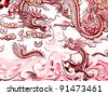 Chinese dragon at the wall of temple in Thailand - stock photo