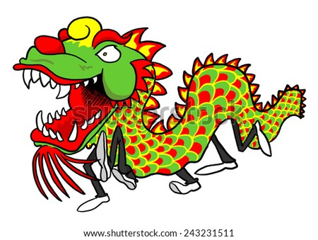 Chinese Dragon Dancers - stock photo