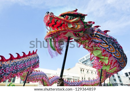 Chinese dragon during the Year of the lunar snake a traditional Chinese holiday - stock photo