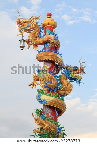 chinese dragon in blue sky background