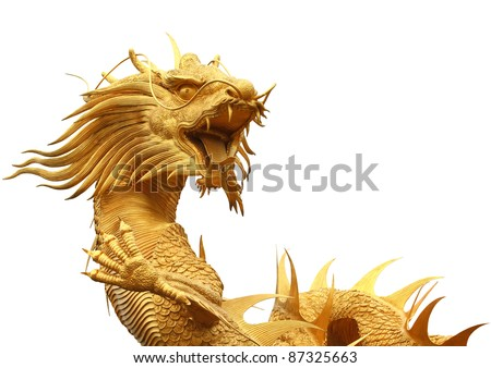 Chinese dragon isolated on white background - stock photo