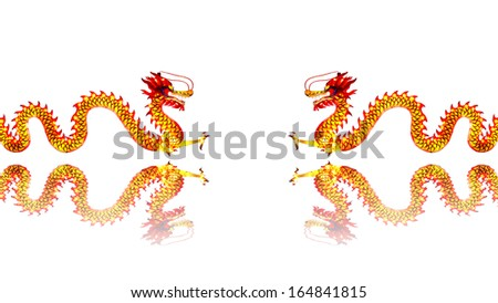 Chinese Dragon Lantern in pond isolated on white background - stock photo