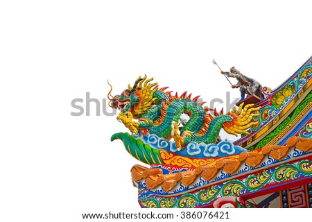 Chinese Dragon on the roof background