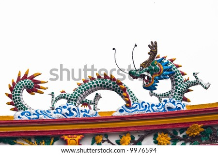 chinese dragon on top temple roof