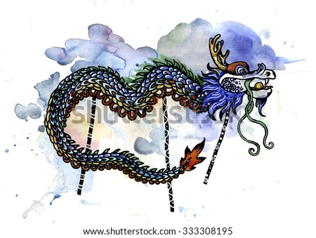 Chinese dragon on watercolor background