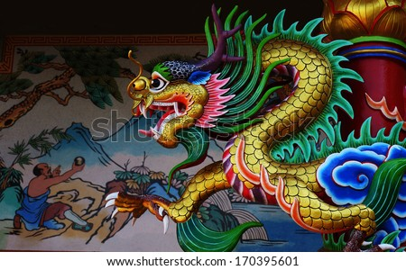 Chinese Dragon Sculpture at Chinese Temple