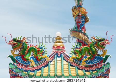 Chinese dragon statue. - stock photo