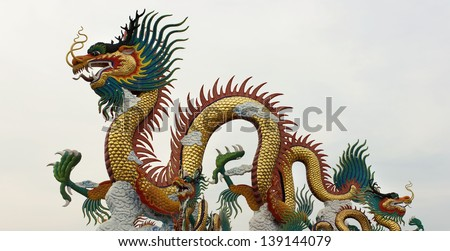 Chinese dragon statue on the park