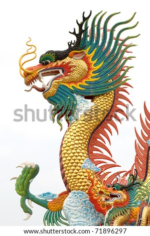 Chinese dragon statue on white background