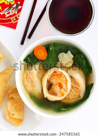Chinese dumpling soup for New Year's - stock photo