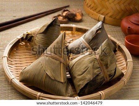 chinese dumplings, zongzi usually taken during festival occasion - stock photo