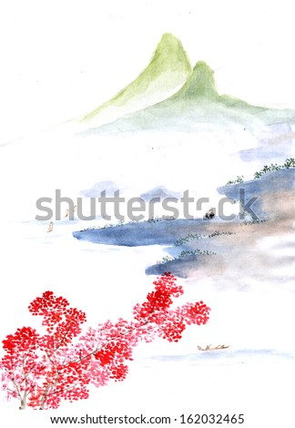 Chinese element--boat and the hill - stock photo