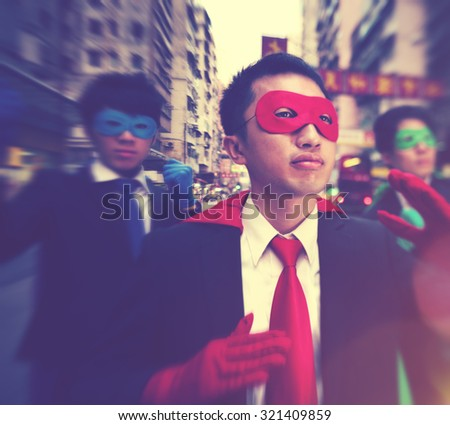 Chinese Ethnicity Business Superheroes Confident Concept - stock photo