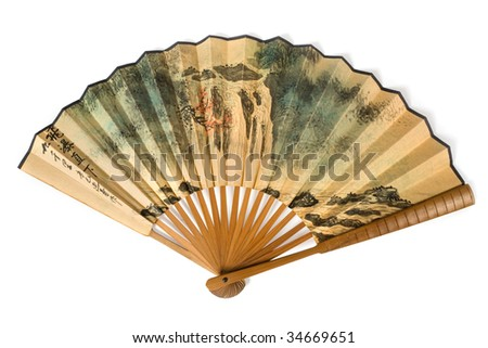 Chinese fan on a white background - stock photo