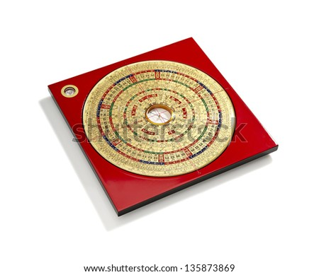 Chinese Feng Shui compass on white background - stock photo