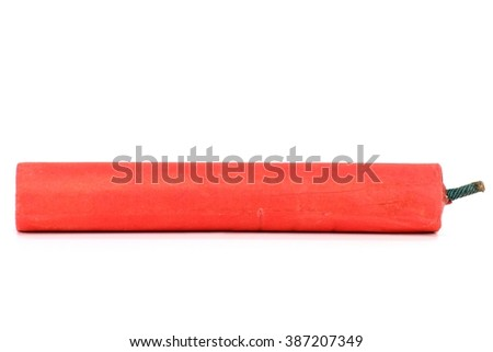 Chinese firecracker isolated on white background - stock photo