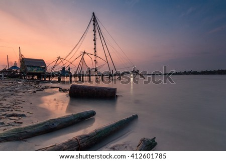 Chinese fishing net - stock photo