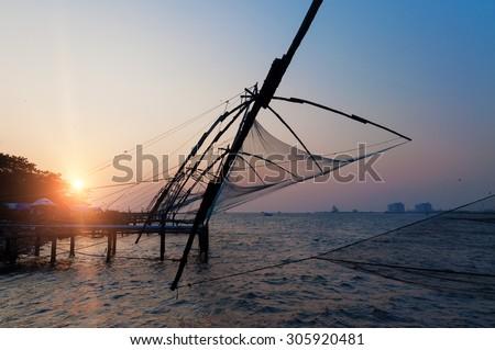 Chinese Fishing nets in Fort Kochi. Kerala. India - stock photo