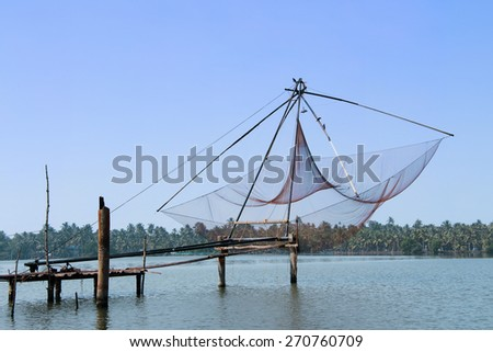 Chinese fishing nets in the Indian city Cochin - stock photo
