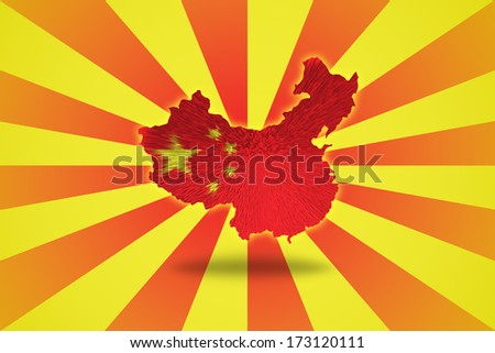 Chinese flag on China map isolated on red and yellow striped background. - stock photo