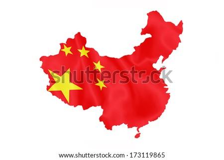 Chinese flag on China map isolated on white background. - stock photo