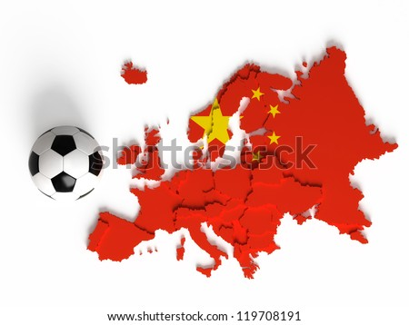 Chinese flag on European map with national borders, isolated on white background