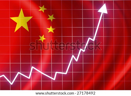 Chinese flag waving in the wind: growth - stock photo