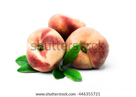 chinese flat peaches with leaf isolated on white with clipping path. chinese flat peaches on white background - stock photo