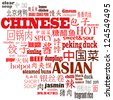 Chinese Food Background Illustration in Mandarin and English. The mandarin characters are the names of various traditional Chinese dishes - stock photo