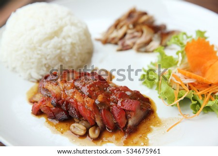 Chinese food Barbecued pork with rice