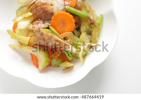 Chinese food, belly pork and celery stir fried