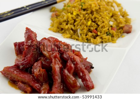 Chinese Food - Boneless spare ribs with Pork fried rice - stock photo