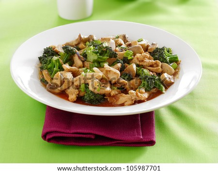 chinese food - chicken and broccoli stir fry - stock photo