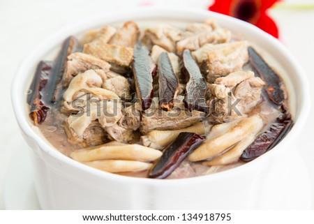 Chinese food, Chinese herbal medicine stewed pork ribs - stock photo