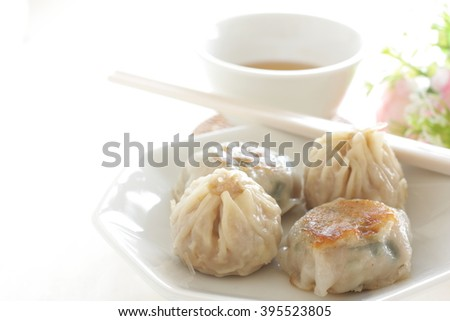 Chinese food, dim sum and tea - stock photo