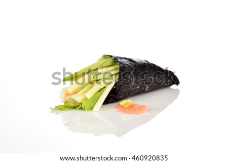 chinese food - fresh vegetables roll isolated on white background