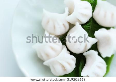 Chinese food, frozen Ha gow Prawn dumpling in diorama style - stock photo