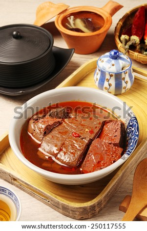 Chinese food- spicy hot duck blood   - stock photo