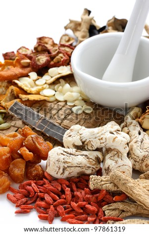 chinese food therapy, traditional chinese herbal medicine - stock photo