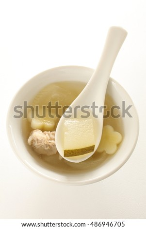 Chinese food, winter melon and pork soup