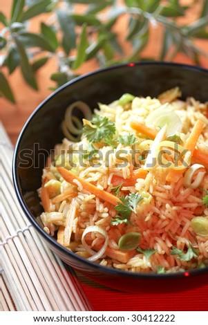 Chinese food with rice - stock photo