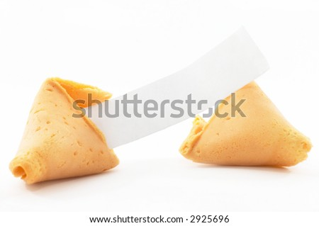Chinese Fortune Cookie open with blank paper, on white background - stock photo